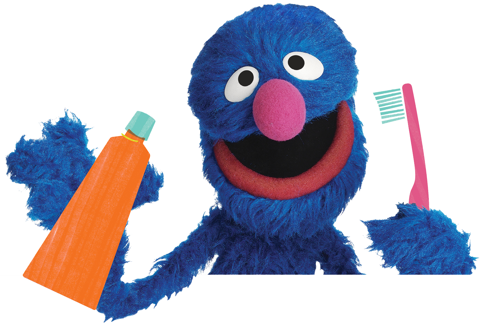 Grover holding toothbrush and toothpaste